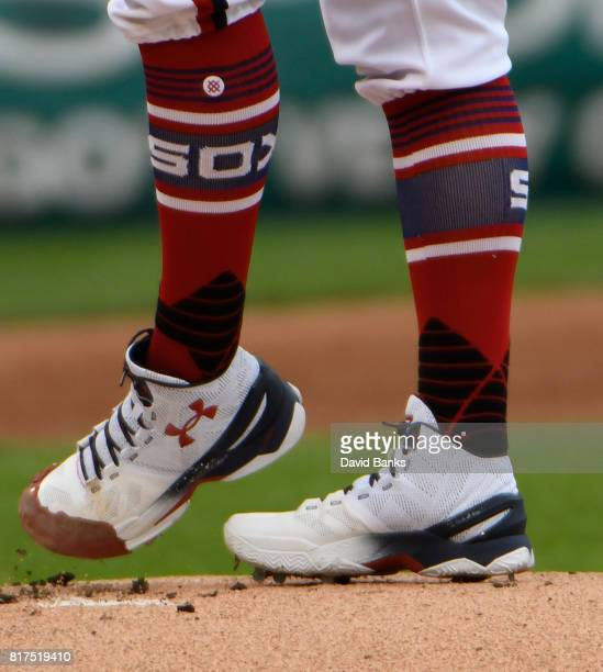A detail shot of Derek Holland of the Chicago White Sox socks in a game against the Seattle Mariners on July 16 2017 at Guaranteed Rate Field in...