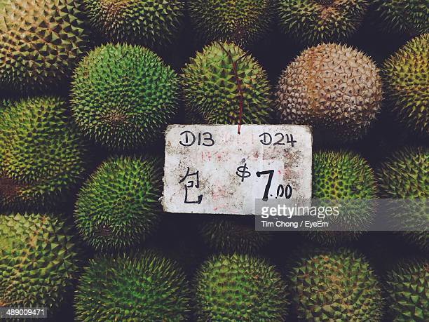 Detail shot of Durian fruits with price tag