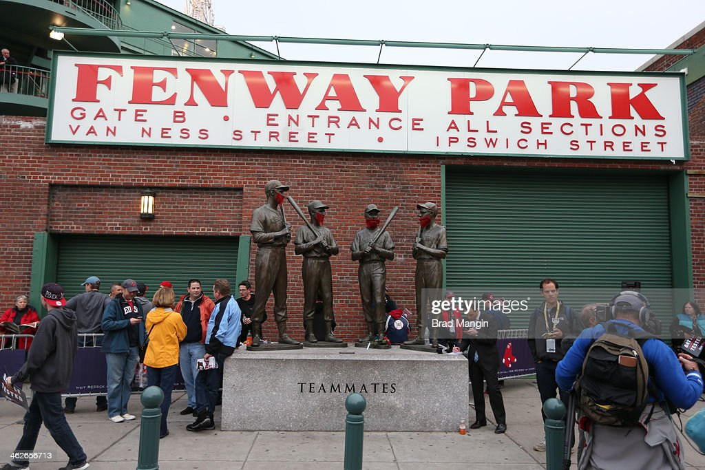 A detail shot of former Boston Red Sox players Ted Williams, Johnny Pesky, Bobby Doerr and Dom DiMaggio are seen with beards before Game 1 of the 2013 World Series between the Boston Red Sox and the St. Louis Cardinals on Wednesday, October 23, 2013 at Fenway Park in Boston, Massachusetts.