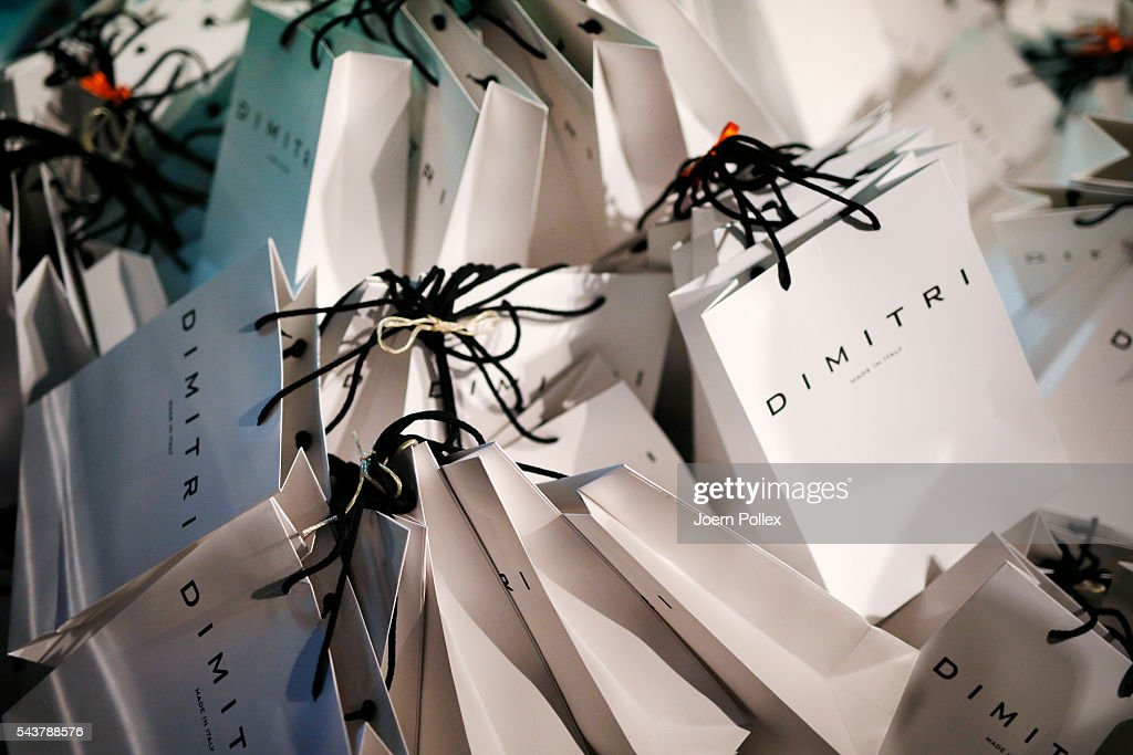 A detail shot of goodie bags is seen backstage ahead of the Wataru Tominaga presented by Mercedes-Benz & Elle show during the Mercedes-Benz Fashion Week Berlin Spring/Summer 2017 at Erika Hess Eisstadion on June 30, 2016 in Berlin, Germany.