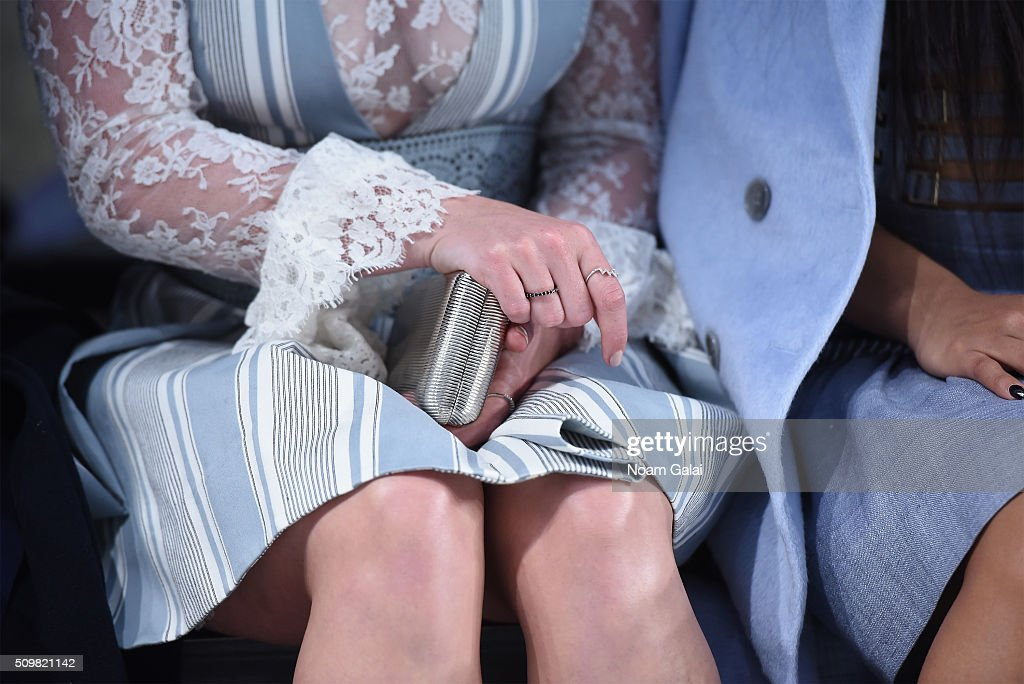 A detail shot of <a gi-track='captionPersonalityLinkClicked' href=/galleries/search?phrase=Hilary+Duff&family=editorial&specificpeople=201586 ng-click='$event.stopPropagation()'>Hilary Duff</a> at the Zimmermann Fall 2016 Runway Show at Art Beam on February 12, 2016 in New York City.