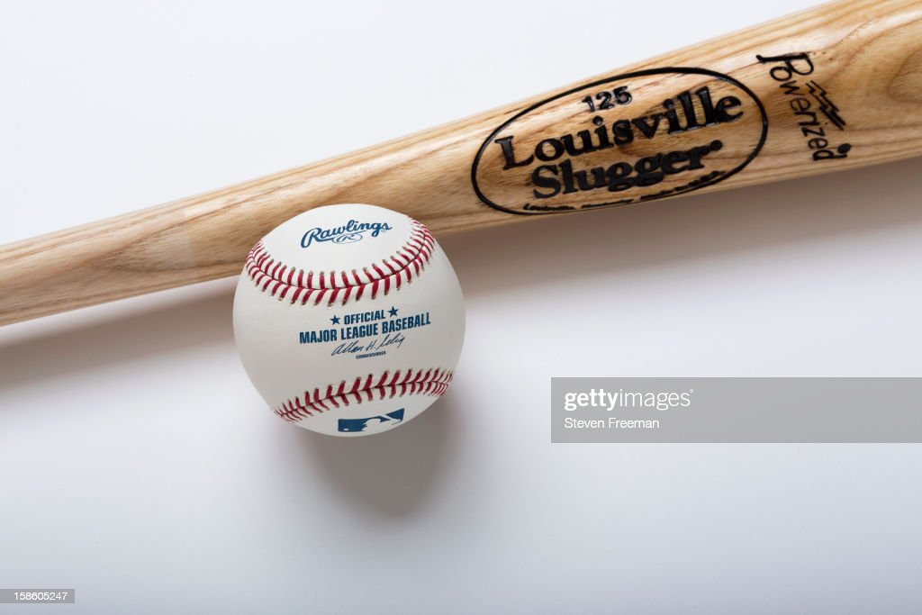 A detail shot of Louisville Slugger Bats and Rawlins Ball, the Official Bat and Ball of Major League Baseball, photographed on December 19, 2012 in New York City.