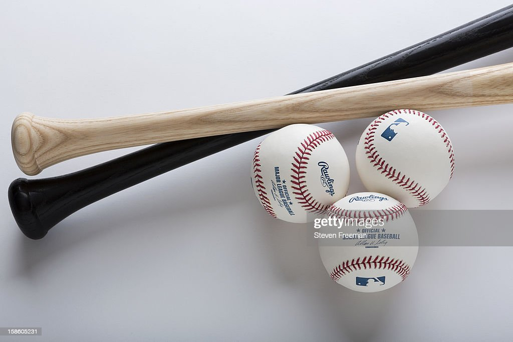A detail shot of Louisville Slugger Bats and Rawlins Balls, the Official Bat and Ball of Major League Baseball, photographed on December 19, 2012 in New York City.