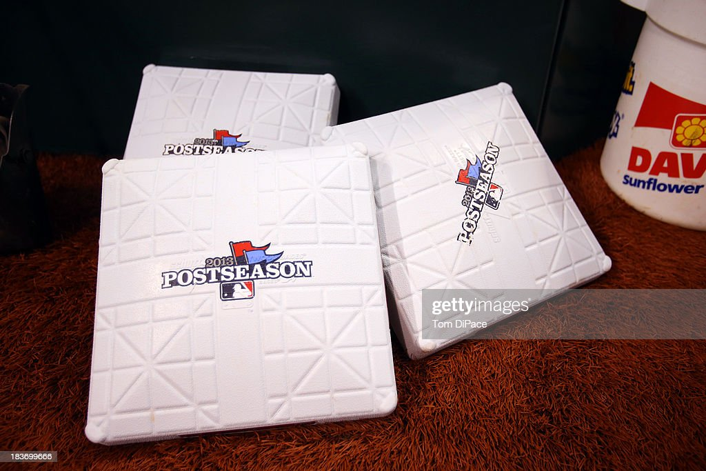 A detail shot of Major League Baseball 2013 Postseason bases before Game 4 of the American League Division Series between the Tampa Bay Rays and the Boston Red Sox on Monday, October 8, 2013 at Tropicana Field in St. Petersburg, FL.