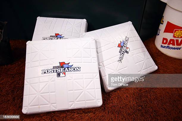 A detail shot of Major League Baseball 2013 Postseason bases before Game 4 of the American League Division Series between the Tampa Bay Rays and the...