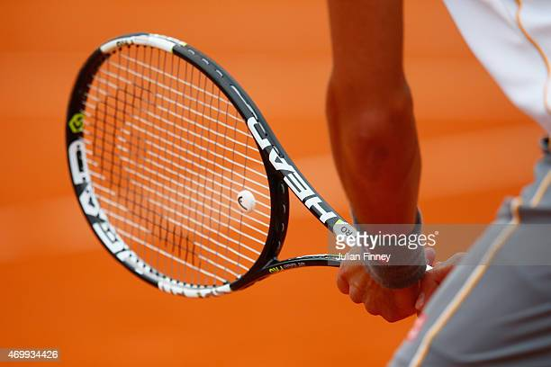 A detail shot of Novak Djokovic of Serbia's racket against Andreas HaiderMaurer of Austria during day five of the Monte Carlo Rolex Masters tennis at...