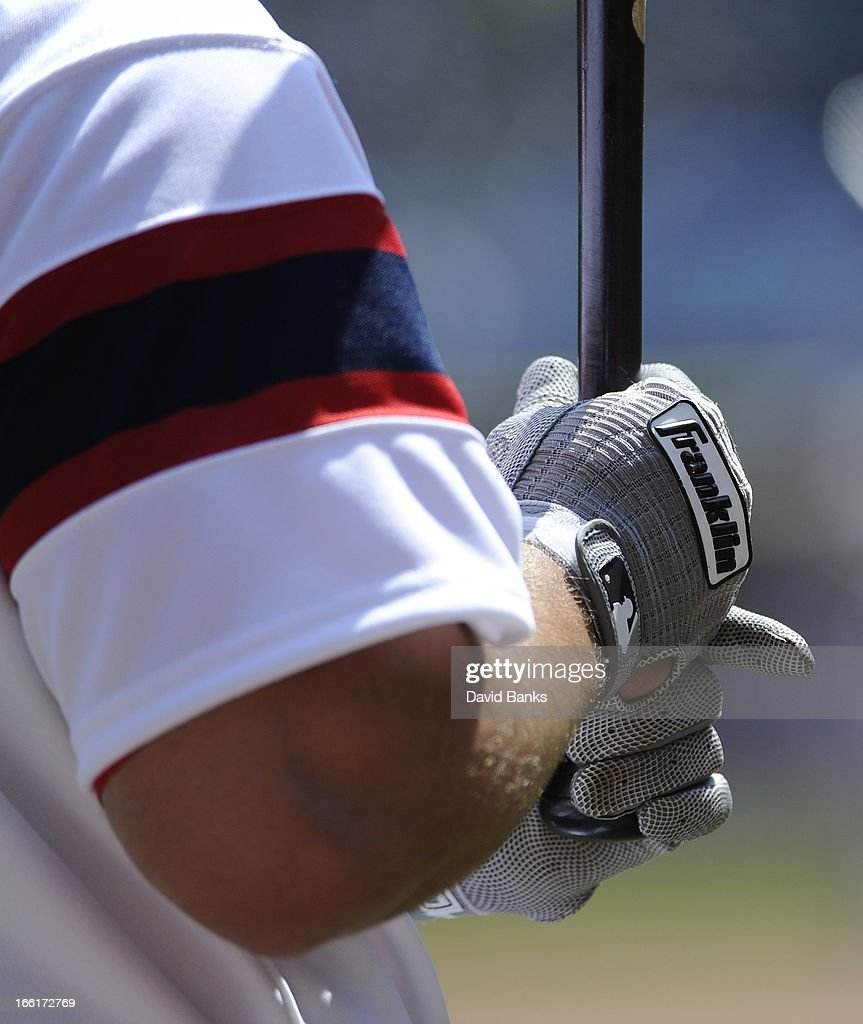 A detail shot of Paul Konerko #14 of the Chicago White Sox wearing Franklin batting gloves during a game against the Seattle Mariners on April 7, 2013 at U.S. Cellular Field in Chicago, Illinois.