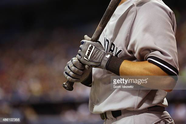 Detail shot of Scott Sizemore of the New York Yankees wearing his Franklin batting gloves at Tropicana Field on April 18 2014 in St Petersburg Florida