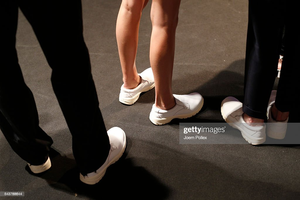 A detail shot of shoes is seen backstage ahead of the Wataru Tominaga presented by Mercedes-Benz & Elle show during the Mercedes-Benz Fashion Week Berlin Spring/Summer 2017 at Erika Hess Eisstadion on June 30, 2016 in Berlin, Germany.