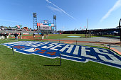 A detail shot of the 2014 World Series logo on the field before GAME 3 of the 2014 World Series between the Kansas City Royals and the San Francisco...