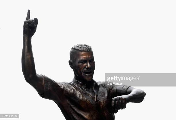 A detail shot of the Alan Shearer statue before the Sky Bet Championship match between Newcastle United and Preston North End at St James' Park on...