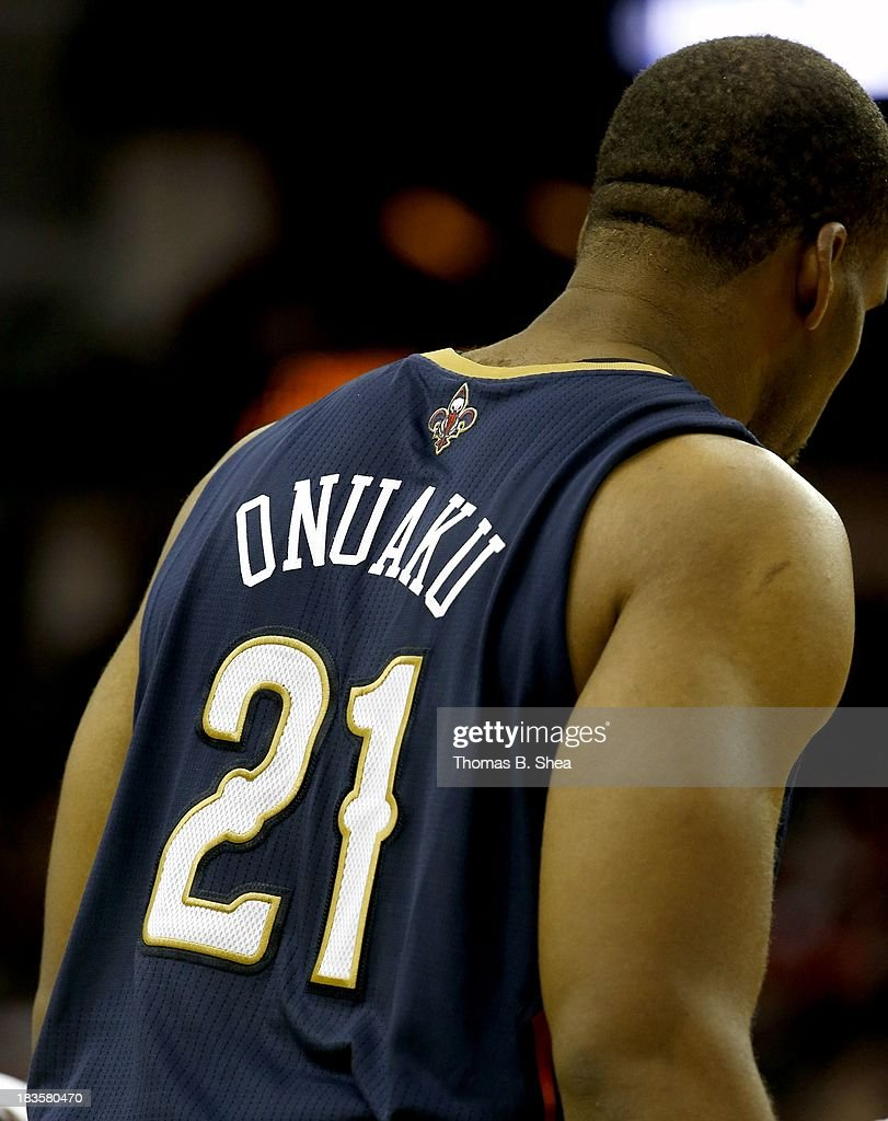 A detail shot of the back of Arinze Onuaku #21 of the New Orleans Pelicans jersey while he plays against the Houston Rockets in a preseason NBA game on October 5, 2013 at Toyota Center in Houston, Texas. The Pelicans won 116 to 115.