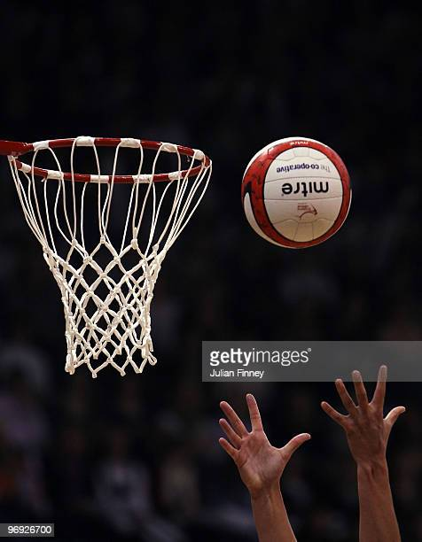 A detail shot of the ball and net during the second test of the Cooperative International Netball Series between England and Australia at the...
