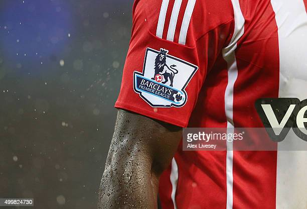 A detail shot of the Barclays Premier League badge is seen during the Barclays Premier League match between Manchester City and Southampton at Etihad...