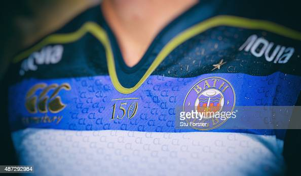 A detail shot of the Bath badge on the new playing shirt at the photocall held at Farleigh House on September 8 2015 in Bath England