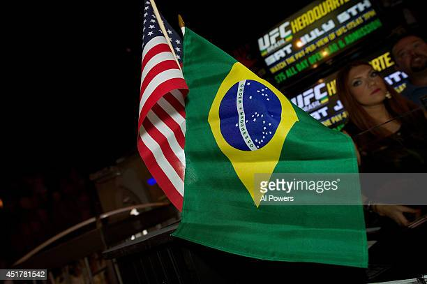 A detail shot of the Brazil flag at the UFC Brazilian party during UFC International Fight Week inside the Rockhouse at The Venetian Las Vegas on...