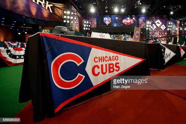 A detail shot of the Chicago Cubs representative table before the 2016 Major League Baseball FirstYear Player Draft at the MLB Network on Thursday...
