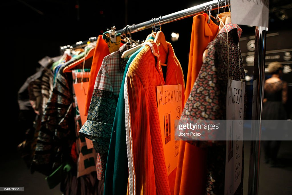 A detail shot of the collection is seen backstage ahead of the Wataru Tominaga presented by Mercedes-Benz & Elle show during the Mercedes-Benz Fashion Week Berlin Spring/Summer 2017 at Erika Hess Eisstadion on June 30, 2016 in Berlin, Germany.