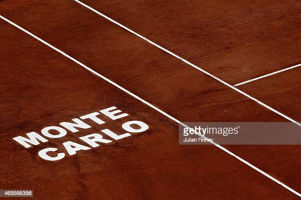 A detail shot of the court during day two of the Monte Carlo Rolex Masters tennis at the MonteCarlo Sporting Club on April 13 2015 in MonteCarlo...