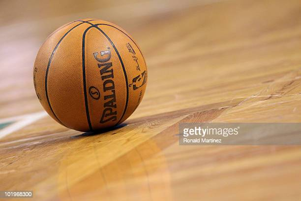 A detail shot of the game ball on the court during Game Four of the 2010 NBA Finals between the Los Angeles Lakers and the Boston Celtics on June 10...