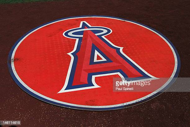 A detail shot of the Los Angeles Angels of Anaheim logo is shown on the ondeck circle before the game against the Oakland Athletics on May 15 2012 at...