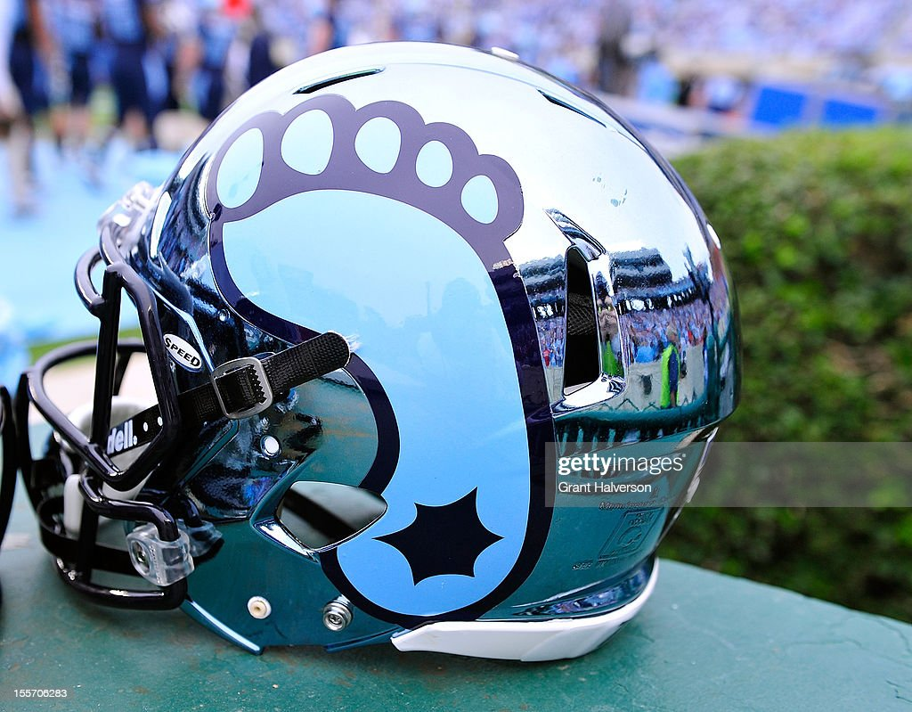 Detail shot of the new chrome helmets worn by the North Carolina Tar Heels against the North Carolina State Wolfpack during play at Kenan Stadium on October 27, 2012 in Chapel Hill, North Carolina. North Carolina won 43-35.