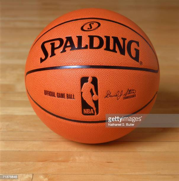 Detail shot of the new offical NBA basketball at the NBA Store on June 28 2006 in New York New York NOTE TO USER User expressly acknowledges and...