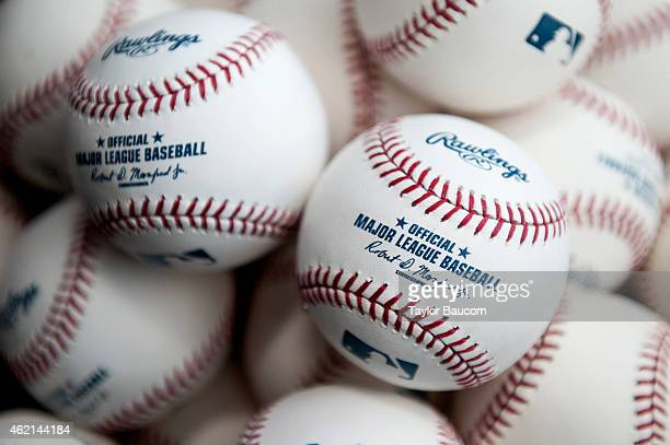 A detail shot of the new Official Major League Baseball with the signature of the tenth Commissioner Robert D Manfred Jr taken on January 25 2015 in...