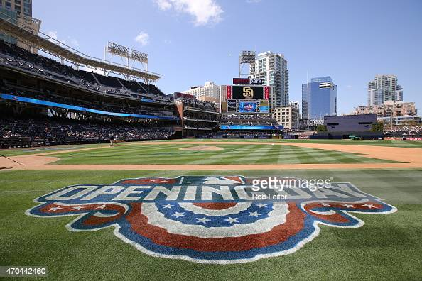 A detail shot of the opening day logo before before the game between the San Francisco Giants and the San Diego Padres at Petco Park on Thursday...