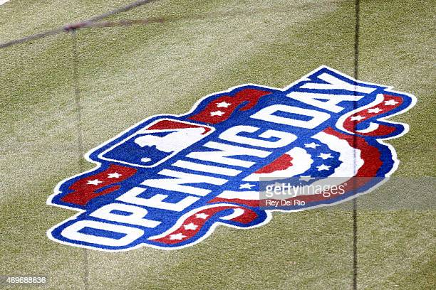 A detail shot of the Opening Day logo used during the game between the Minnesota Twins and Detroit Tigers at Comerica Park on Monday April 6 2015 in...