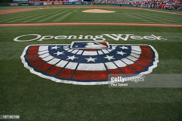 A detail shot of the opening week logo on the field before the Los Angeles Angels of Anaheim game against the Houston Astros on Sunday April 14 2013...
