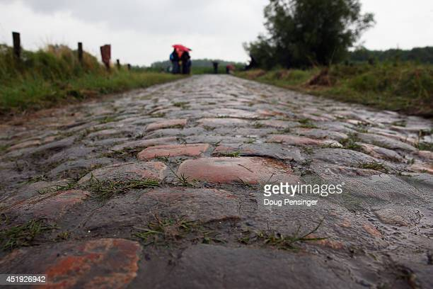 A detail shot of the pave during the fifth stage of the 2014 Tour de France a 155km stage between Ypres and Arenberg Porte du Hainaut on July 9 2014...