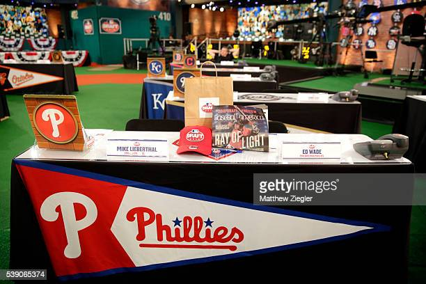 A detail shot of the Philadelphia Phillies representative table before the 2016 Major League Baseball FirstYear Player Draft at the MLB Network on...