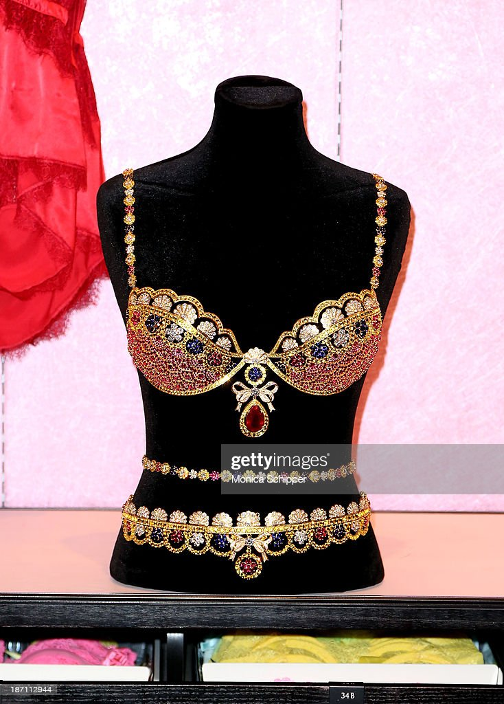 Detail shot of The Royal Fantasy Bra on display at Victoria's Secret in Herald Square on November 6, 2013 in New York City.