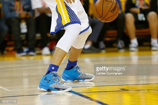 A detail shot of the shoes worn by Stephen Curry of the Golden State Warriors during warms up before Game Two of the Western Conference Quarterfinals...