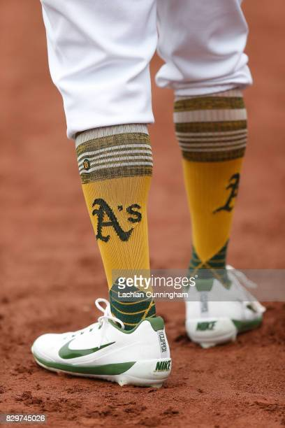 A detail shot of the socks worn by Khris Davis of the Oakland Athletics during the game against the Seattle Mariners at Oakland Alameda Coliseum on...