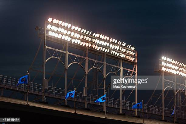 A detail shot of the stadium lights during the Opening Night game between the Chicago Cubs and the St Louis Cardinals at Wrigley Field on Sunday...