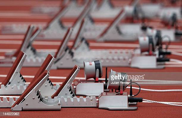 A detail shot of the starting blocks during the Visa London Disability Athletics Challenge LOCOG Test Event for the London 2012 Paralympic Games at...