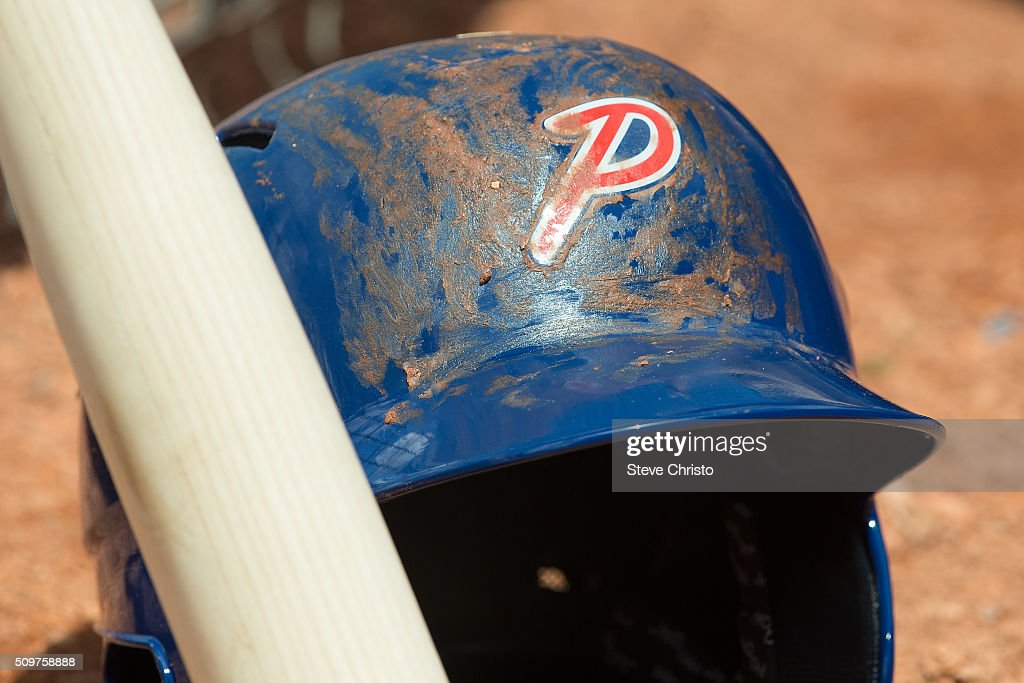 A detail shot of the Team Philippines helmet in the dugout before Game 3 of the World Baseball Classic Qualifier against Team New Zealand at Blacktown International Sportspark on Friday, February 12, 2016 in Sydney, Australia.