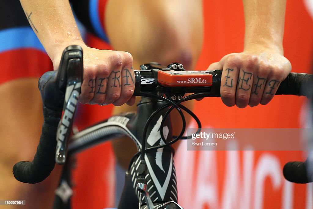 A detail shot of the 'Turn Left' tattoo on the knuckles of Gillian Carleton of Canada on day one of the UCI Track Cycling World Cup at Manchester Velodrome on November 1, 2013 in Manchester, England.