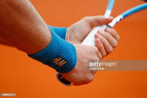 A detail shot of Tomas Berdych of Czech Republic's wrist band against Roberto Bautista Agut of Spain during day five of the Monte Carlo Rolex Masters...