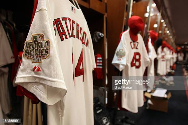 Detail shots of the World Series logo in the St Louis Cardinals' clubhouse prior to Game Two of the 2011 World Series between the Texas Rangers and...
