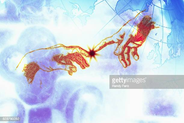 Detail Showing Hands Touching from Version of Creation of Adam by Michelangelo Buonarroti