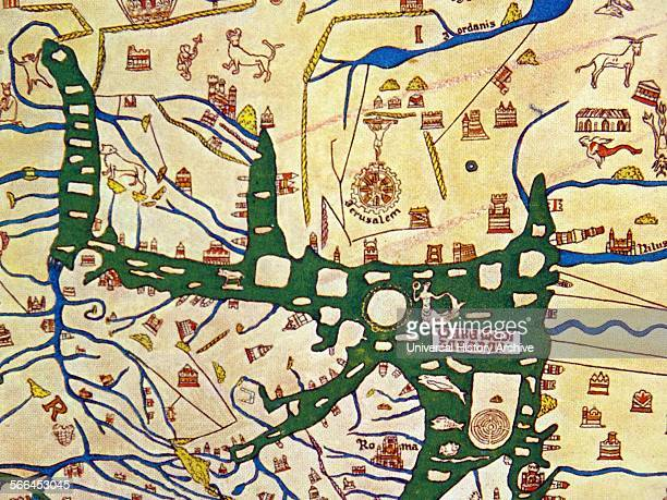 detail showing Jerusalem as the centre of the world on the Hereford Mappa Mundi of 1280