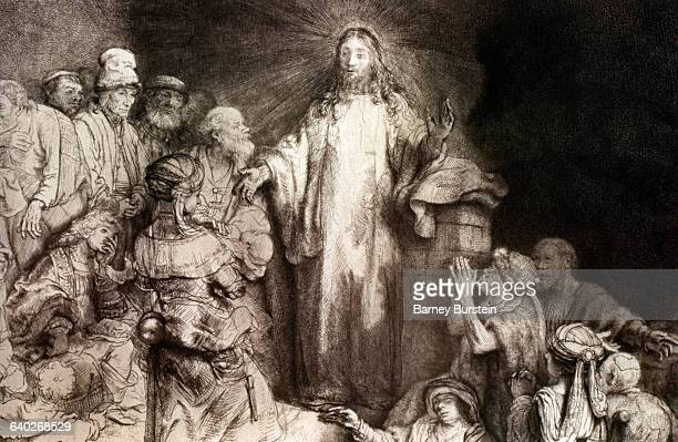 Detail Showing Jesus from Christ Healing the Sick by Rembrandt Harmensz van Rijn