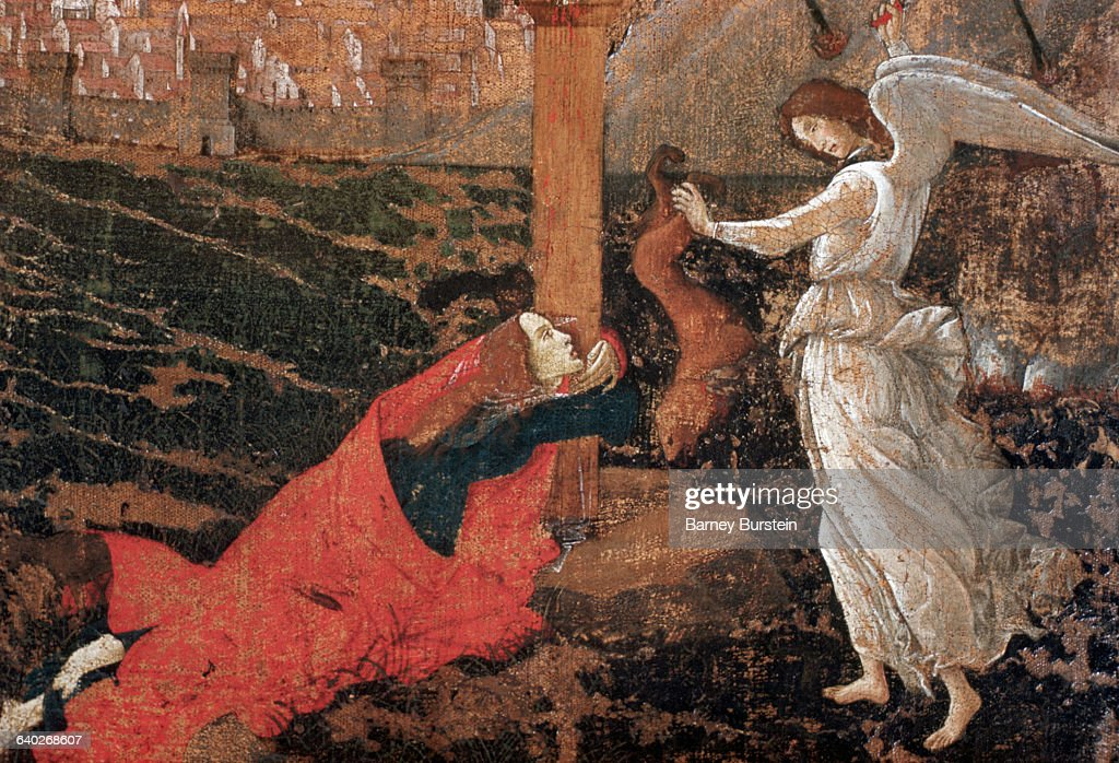 Detail Showing Mary Magdalen and Angel Slaying Demon from Mystic Crucifixion by Sandro Botticelli