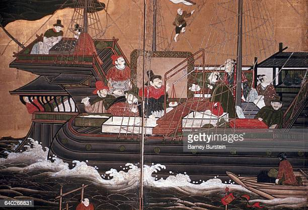 Detail Showing Passengers on a Ship from Japanese Screen Painting Depicting Westerners in Japan