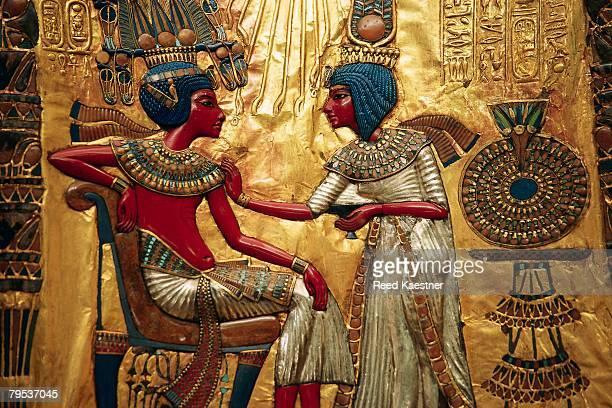 Detail Showing Tutankhamen and Queen from Decorated Throne of Tutankhamen