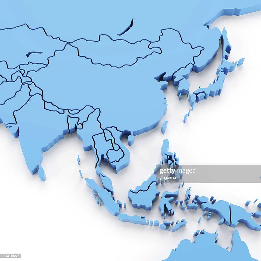 Detail southeast asia map with national borders