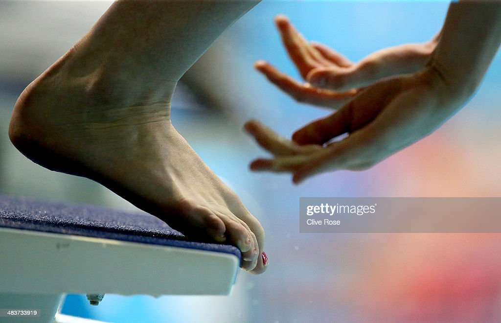 A detail view as a competitor starts a race on day one of the British Gas Swimming Championships 2014 at Tollcross International Swimming Centre on April 10, 2014 in Glasgow, Scotland.